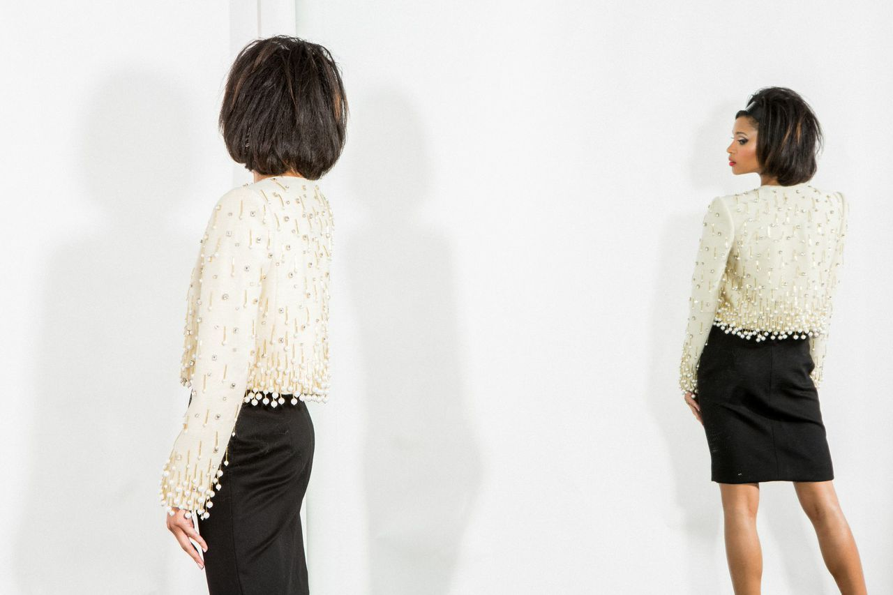 Paul Carroll F/W 2015 Collection  Sonya Jacket & Skirt Hand - Embroidered  Beads