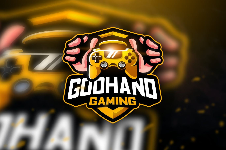 godhand gaming mascot esport logo template ai eps logo