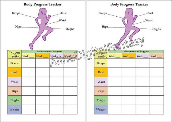 body tracker measurement tracker a5 planner printable weight loss