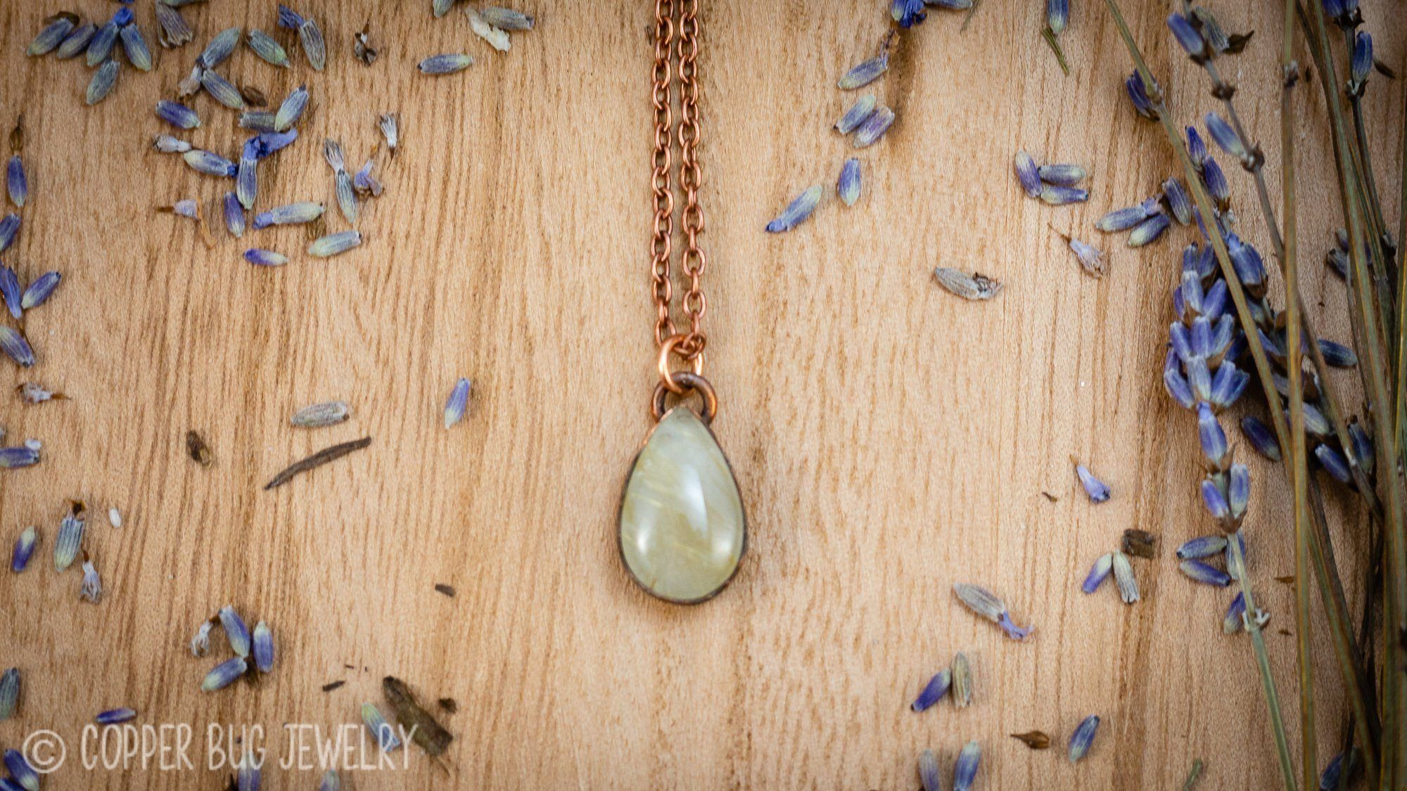Photo of Little Golden Rutile Quartz Electroformed Copper Necklace