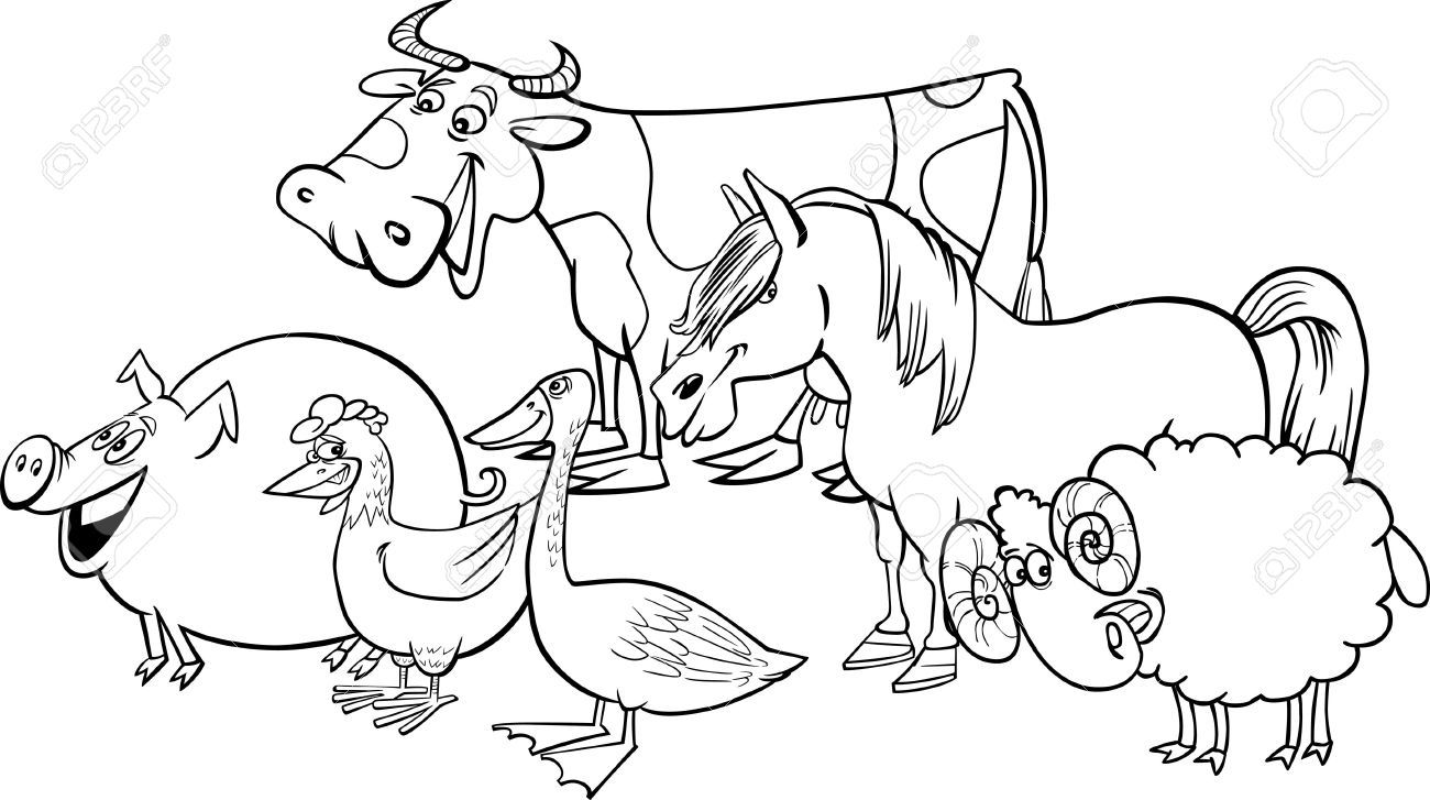 (funny animals) farm animals clipart black and white 562