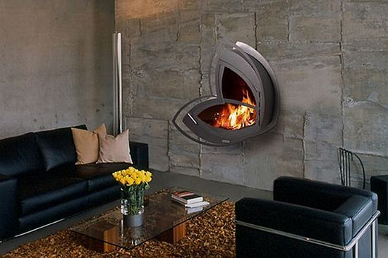 Arkaine Wall Mountable Fireplace Uses Dried Wood No Electricity