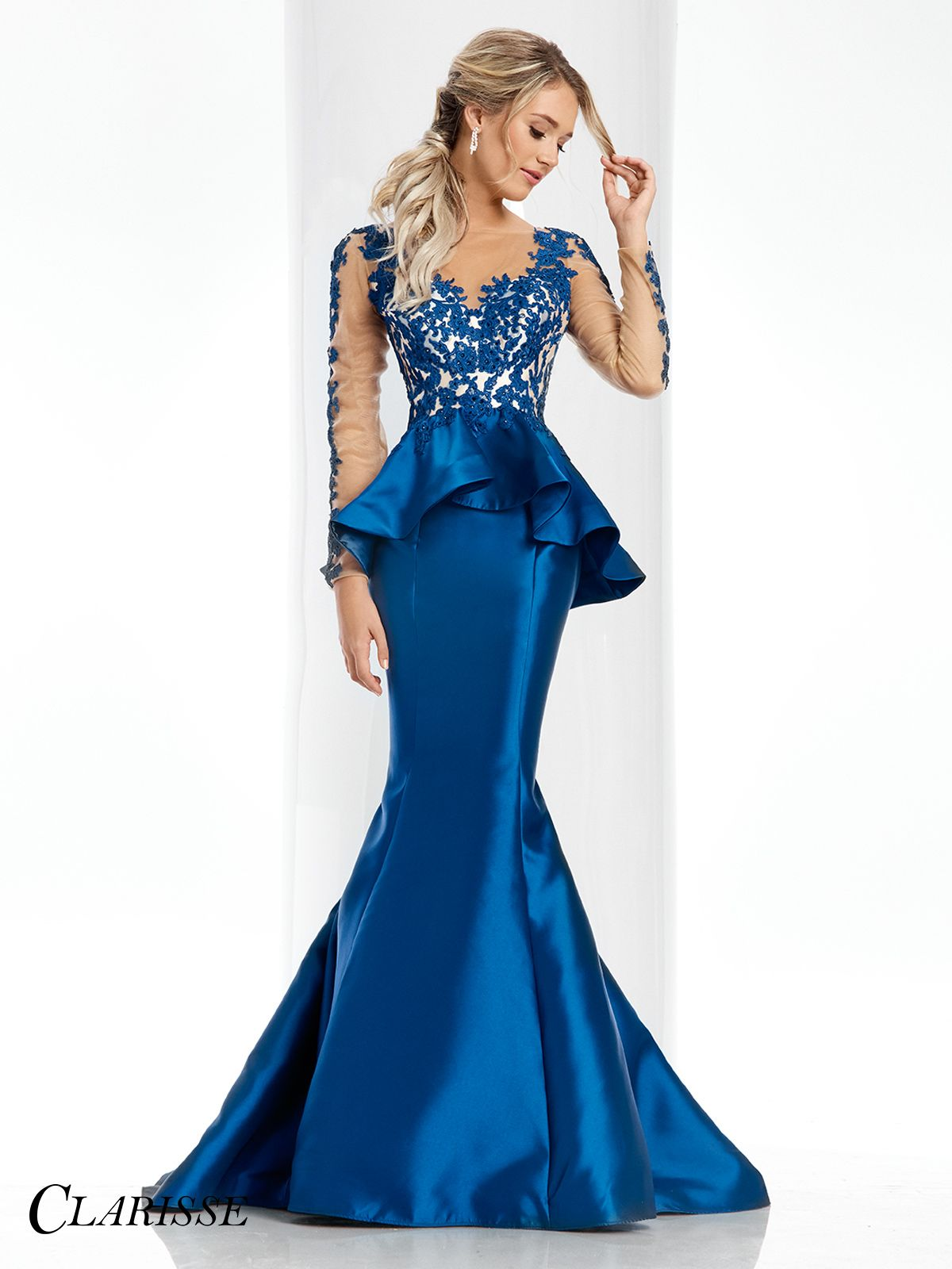 Clarisse couture prom dress floral appliqué with long sleeves