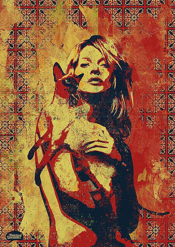 Illustration, Vinicius Quesada's, Woman, Cat, Red