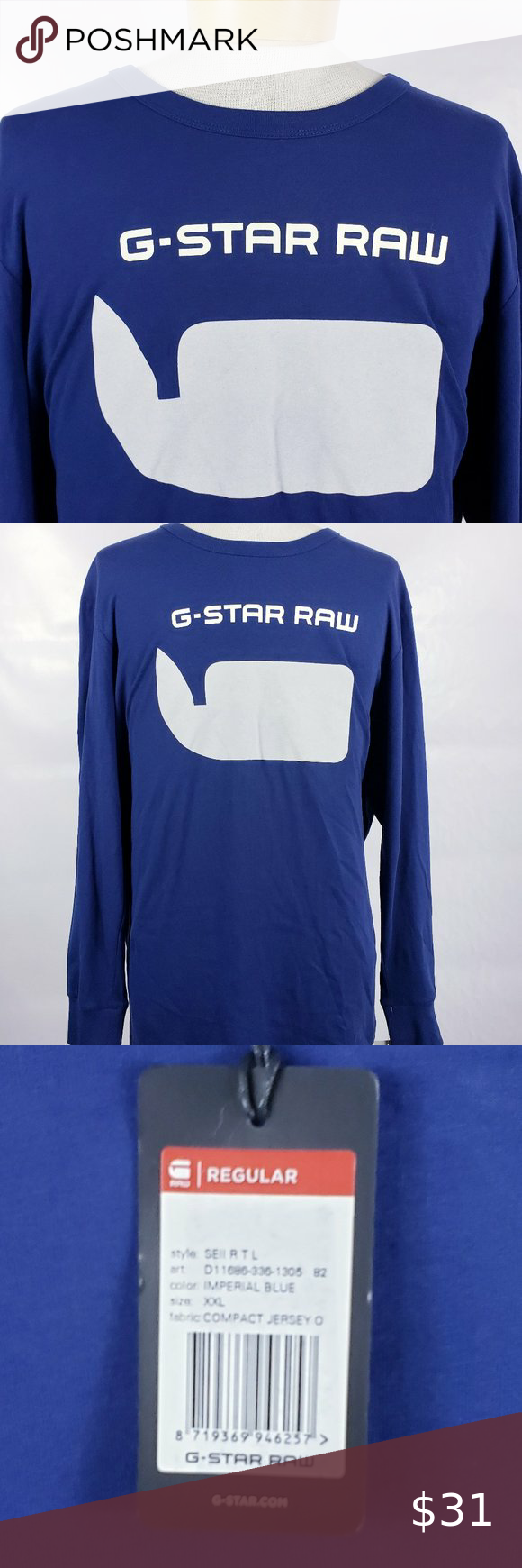 G Star Raw Xxl Screen T Shirt Long Sleeve Imp Blue Long Sleeve Shirts G Star Long Sleeve