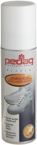 Pedag White Liquid Polish, 2.6-Ounce (Pack of 2) by Pedag. $11.91. Made in France. White liquid polish. Easy to apply sponge applicator. Clean, shines and restores color. Good on smooth leather, textiles, canvas and synthetic shoe and athletic shoe materials. Pedag White Liquid Polish is a strong. pigment rich, white polish for all shoes made with smooth leather, textiles, synthetic and material combinations. Cleans, shines and restores color.