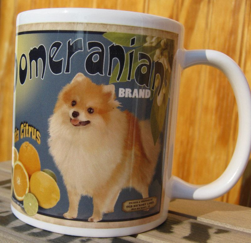 Pomeranian Crate Label Coffee Mug I Heart Poms Pinterest