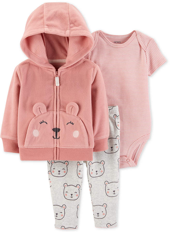 25f833875 Carter s Baby Girls 3-Pc. Bear Hoodie