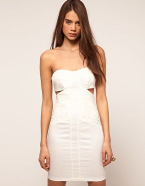 9b43f58b246 Image 1 of ASOS Bandeau Dress with Cut outs and Ruched Mesh