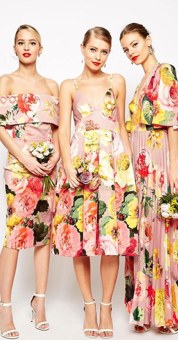 Modern Printed Fl Bridesmaid Dresses Spring Weddings Bridesmaids