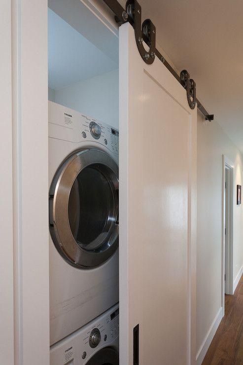 Washer And Dryer Hall Laundry Room Laundry Room Closet Barn Door