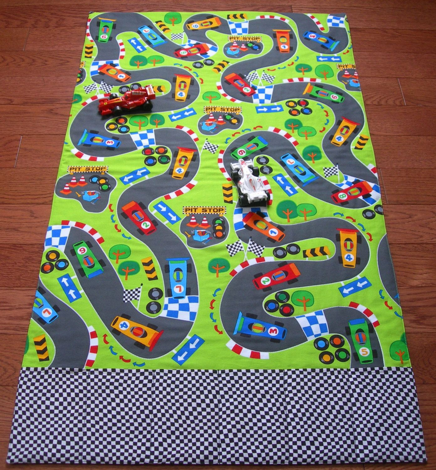 race track roll up play mat pockets for toys playmat car play mat race car track personalized car mat boy christmas gift quilt road