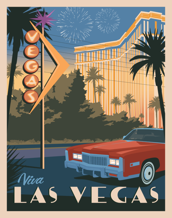 Las Vegas Nevada Vintage Style Travel Poster Travel Posters Art Deco Vintage Poster Design Retro Travel Poster
