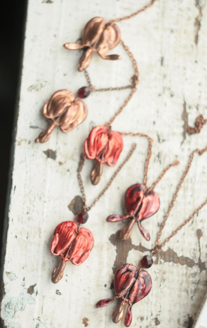 Bleeding Heart Metal Pendant Real Plant Copper Electroformed Etsy Bleeding Heart Metal Pendant Electroforming