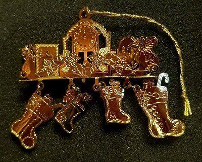 "Danbury Mint 2009 Gold Christmas Ornament ""Holiday Mantel ..."