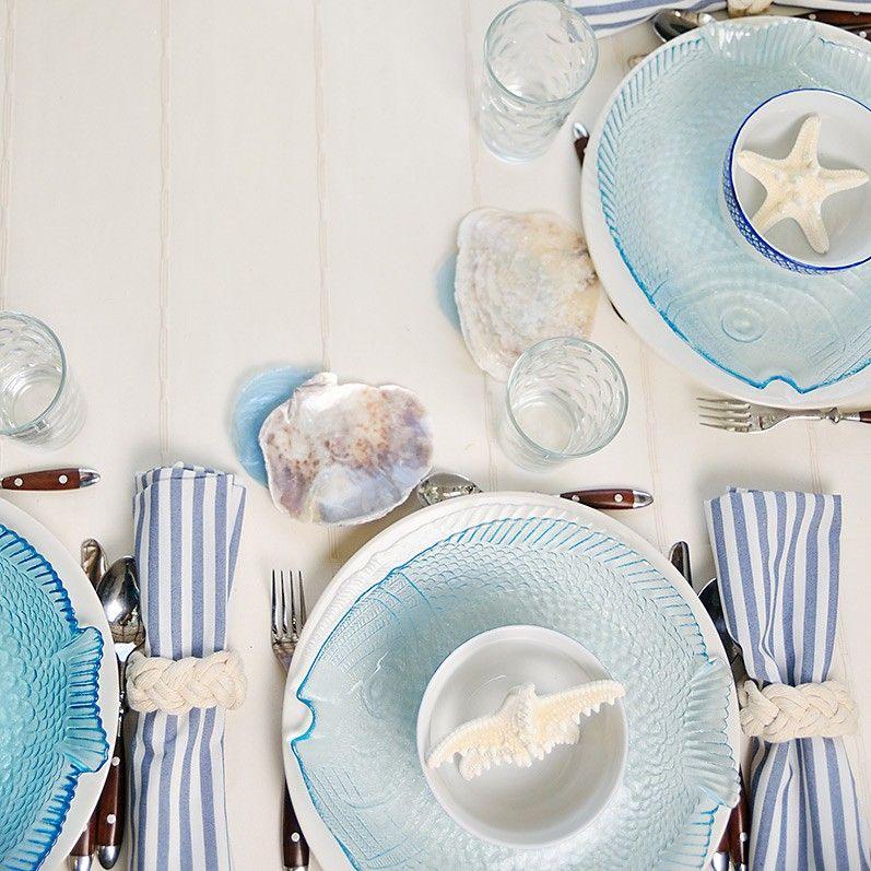 Mesa blue summer decoraci n en azul y blanco mesa for Decoracion marinera ikea