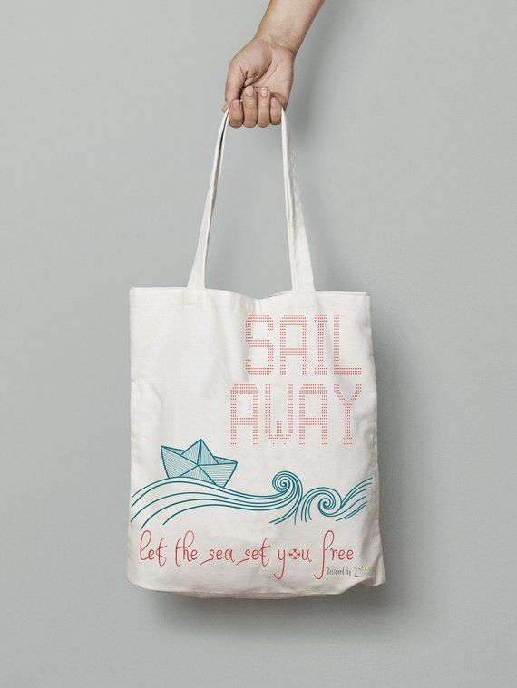 """a3cfc9e14d59c6 Beach tote bags for women– Canvas print tote bag with paper boat and quote """" Sail away"""" makes nice su"""