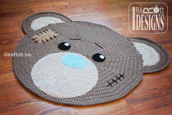 Crochet Pattern Classic Teddy Bear Rug Pdf Crochet Pattern Etsy Bear Rug Crochet Rug Crochet Mat