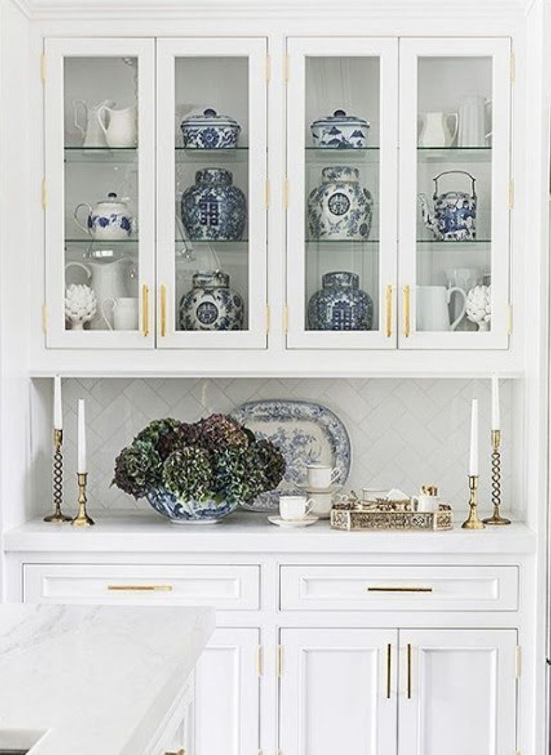 Blue White Chinoiserie White Cabinetry Gold Hardware Kitchen Display Cabinet Living Room Display Cabinet White Display Cabinet