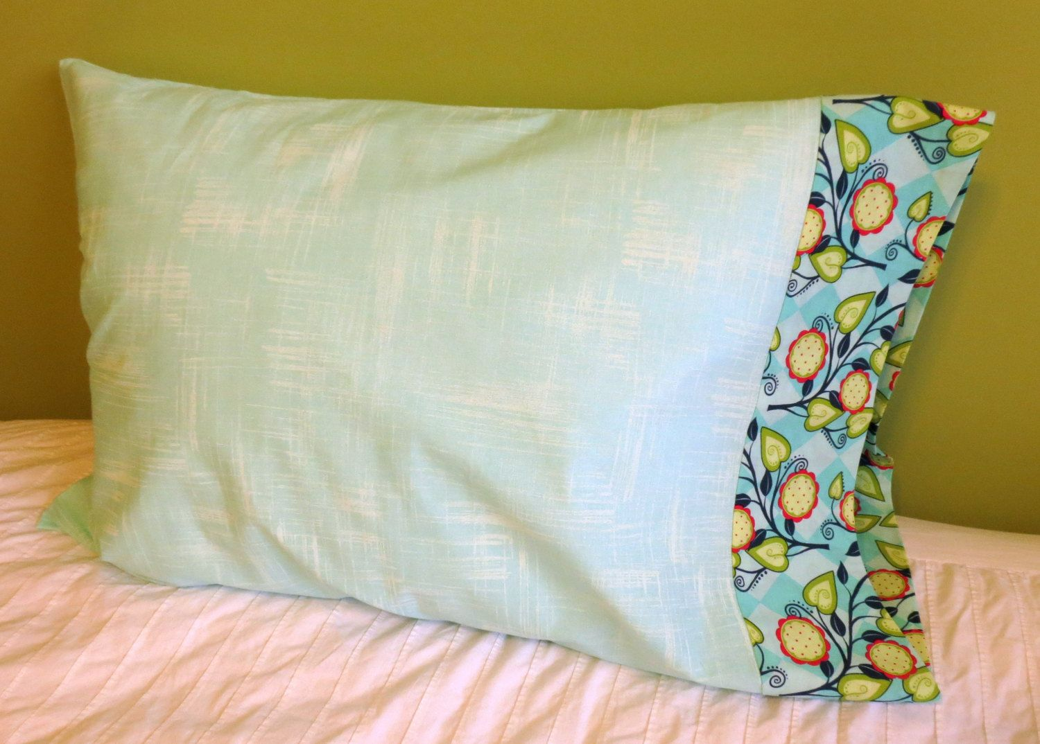 Teal pillowcase - handmade, housewarming gift, bedding, guest room decor, dorm room bedding, pillow case, French seam pillowcase, argyle by BridgeTheGapStudio on Etsy