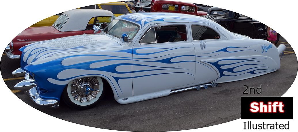 """Sh Boom"" Flame Shooting Kustom Lead Sled"" #kustom #hotrod #flames #leadsled"