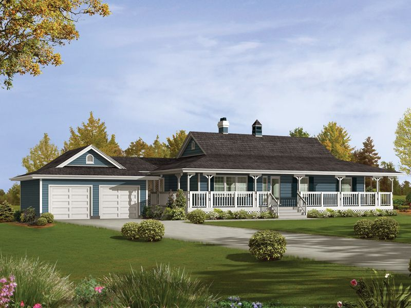 ranch house with wrap around porch and basement | house plans
