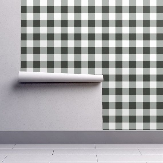 Black And White Plaid Wallpaper Buffalo Check In Black By Etsy Plaid Wallpaper Self Adhesive Wallpaper Removable Wallpaper