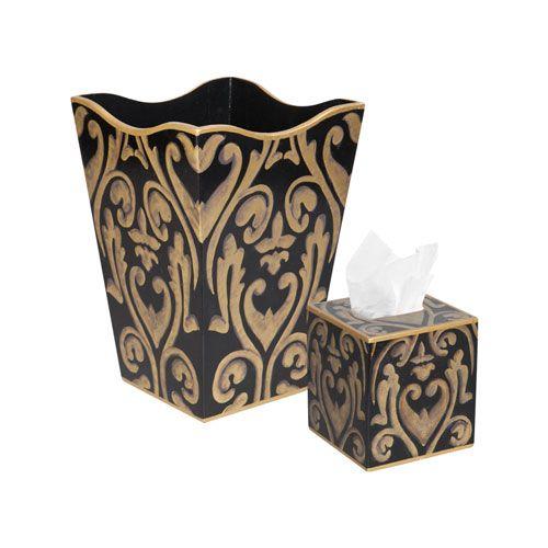 allen g designs black gold wastebasket and tissue box. Black Bedroom Furniture Sets. Home Design Ideas