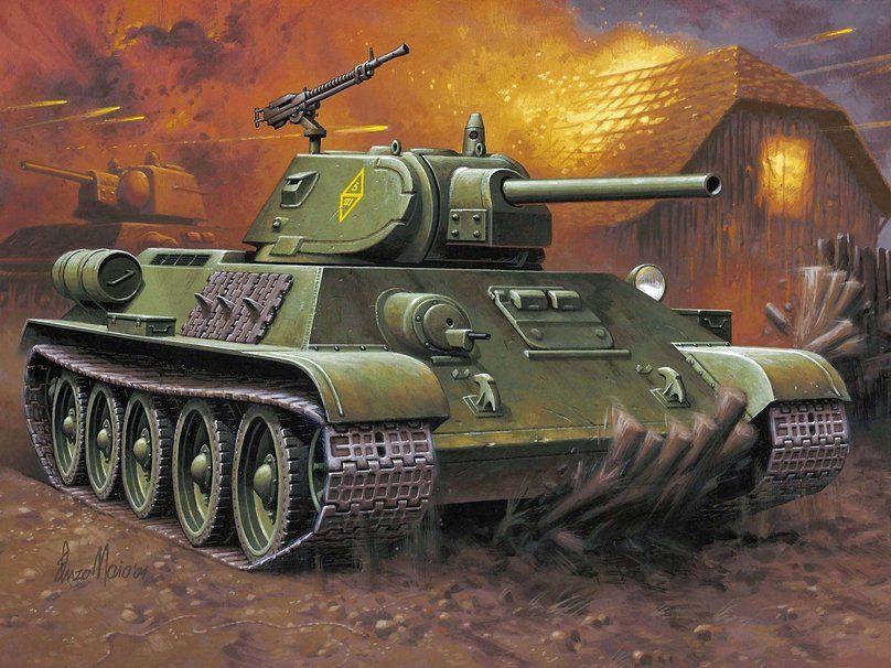 Art, drawing, t-34-76, thirty-four, soviet, medium, tank