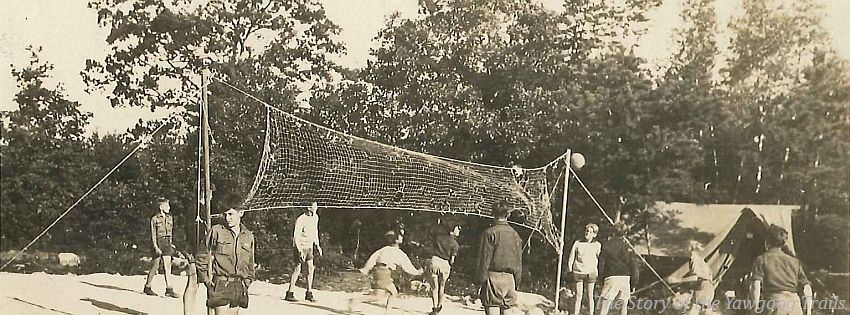 Circa 1930 Postcard Of A Volleyball Game At Camp Yawgoog State Forest Free Facebook Cover Photos Camping