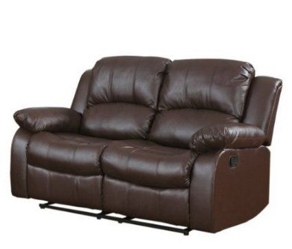 Classic and Traditional Brown Bonded Leather Recliner Chair Love