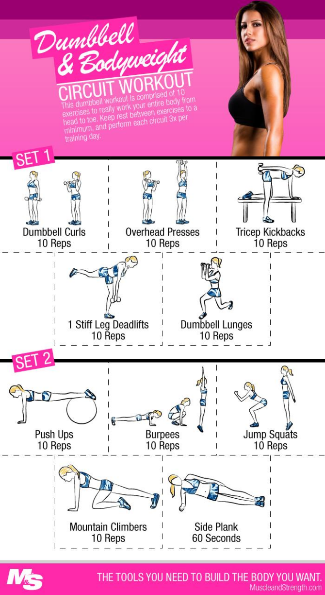 Dumbbell And Bodyweight Circuit Workout For Women Fitness