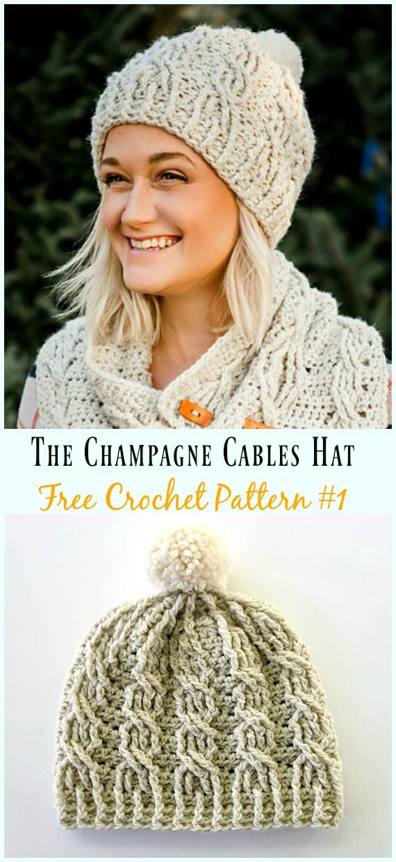 Cabled Beanie Hat Free Crochet Patterns #crochethats