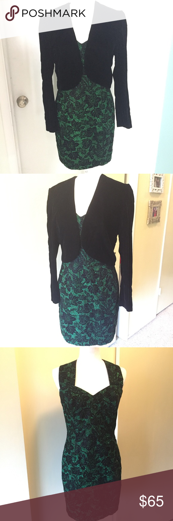 Us vintage formal dress and jacket vintage formal dresses green
