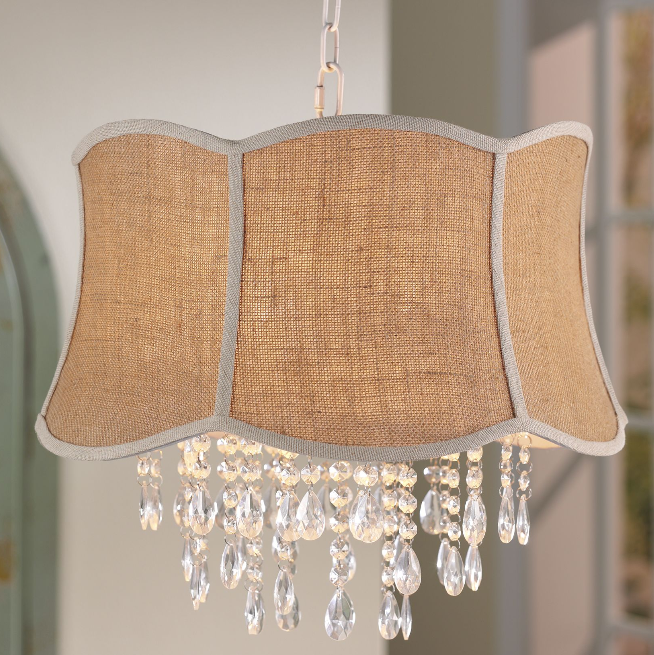 Elegant lighting neutral design elements get a boost with a elegant lighting neutral design elements get a boost with a sophisticated accent piece like a crystal burlap swaglight fixturesceiling arubaitofo Images