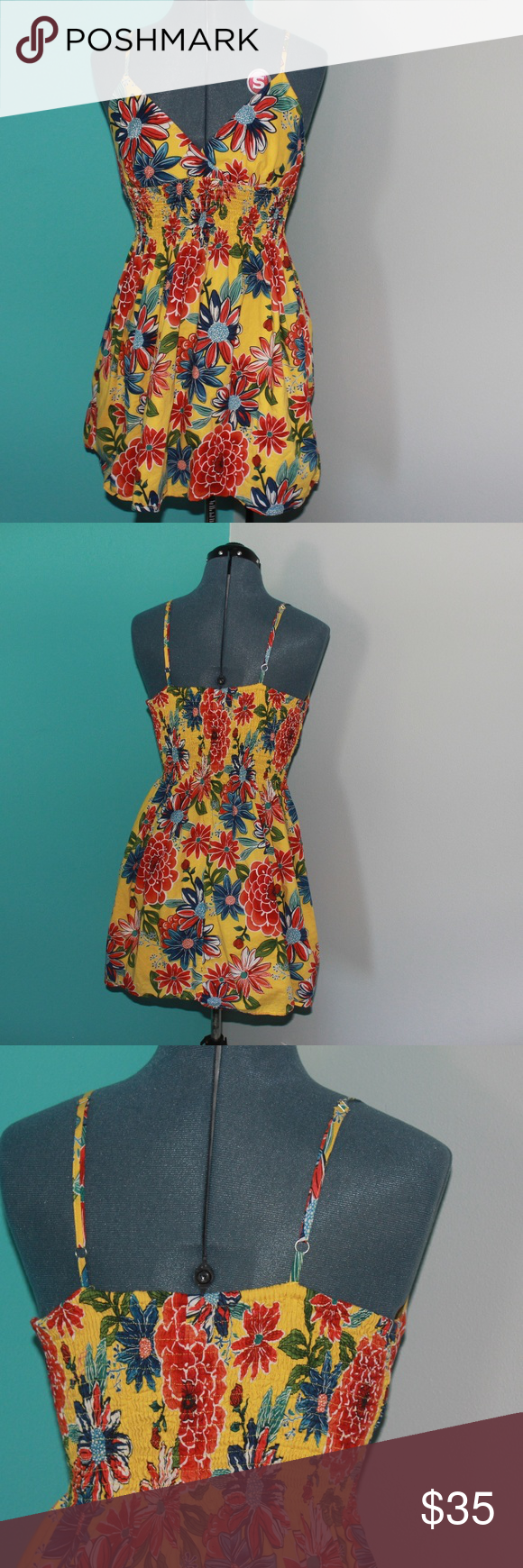 eefa5be7fcef Tropical Summer Dress Yellow Xhilaration Quality  No wear at all! It s only  been worn a few times and it looks new! Description  Stylish yellow and red  ...