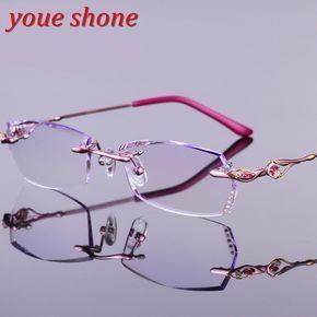 eef125f2e6 Youe shone Luxury Colored Lenses Diamond Trimmed Eyeglasses Women Quality  Titanium Glasses Frame with Tint Lenses