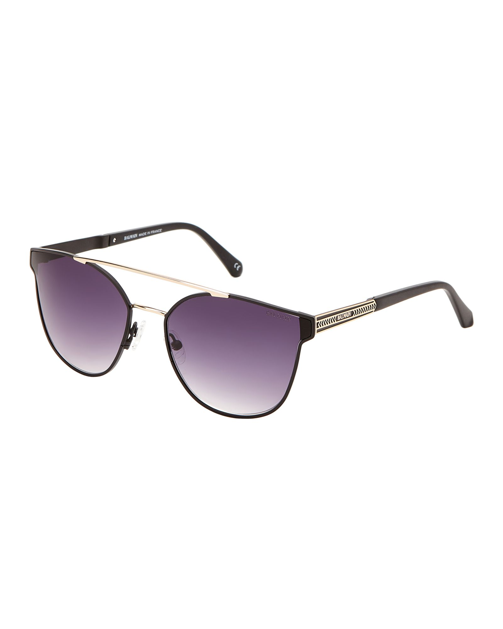 4b5b79f6697b Balmain BL252204 Matte Black & Gold-Tone Wayfarer Sunglasses ...