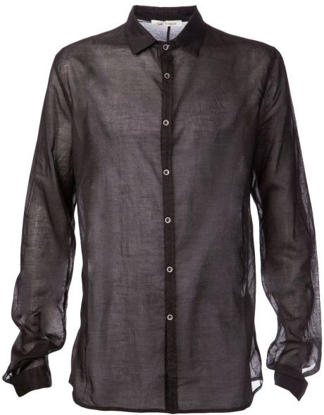 4a6db25bbee Poeme Bohemien Sheer Dress Shirt in Black for Men