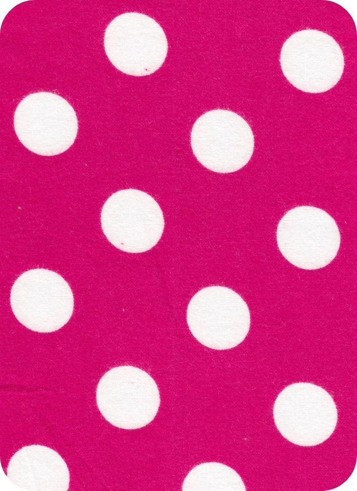 """By The Yard HOT PINK DOTS Flannel Fabric Quilt Blanket Large 1"""" White Polka Dots #Snuggle"""