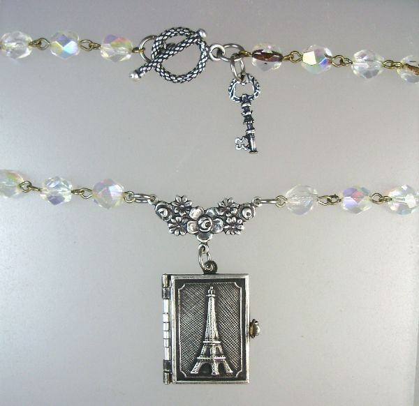 Antique FRENCH EIFFEL TOWER Souvenir PHOTO BOOK LOCKET Silver KEY Charm Crystal Bead Necklace-n-etbkr
