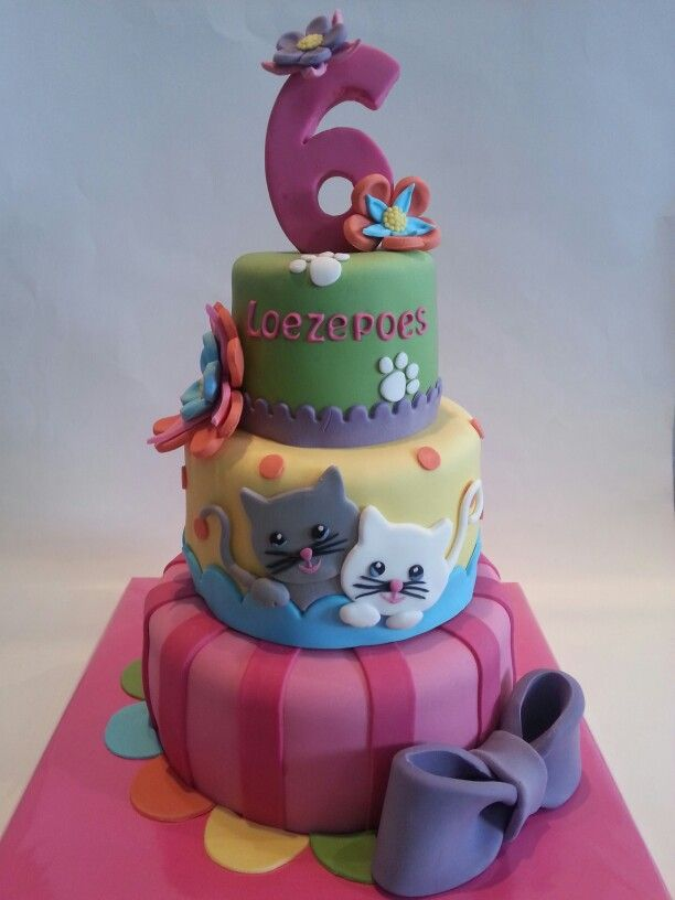 Birthday Cake With Cats Cat Parties 2 Piece Of