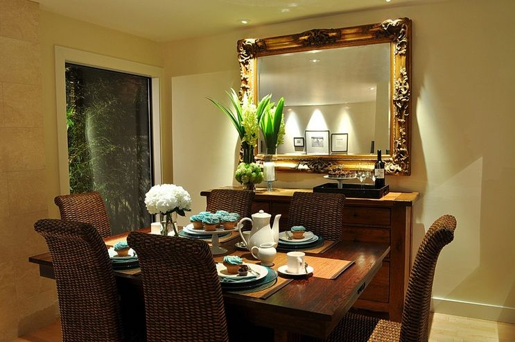 Room Dining Buffet Decorating Ideas With Large