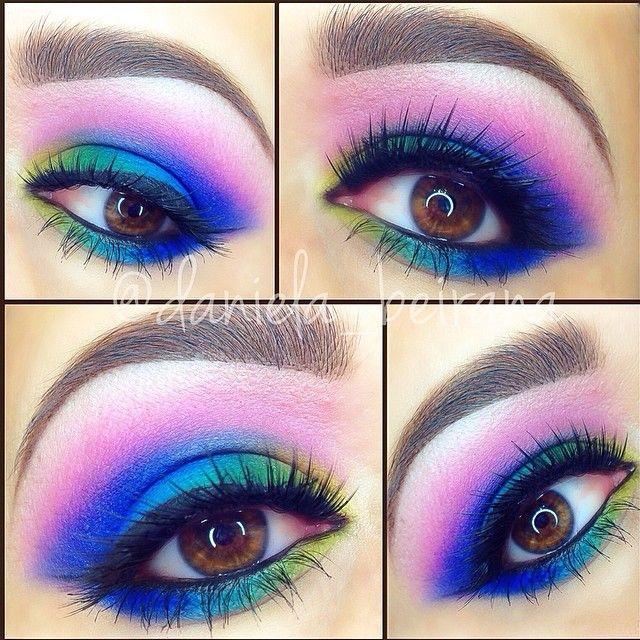 Bright neon make up Makeup ❤ Pinterest Maquillaje y Estilo