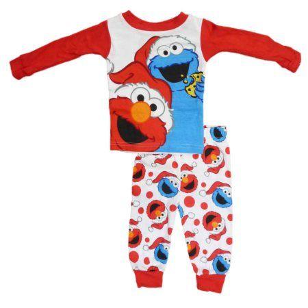 sesame street infant toddler boys elmo cookie monster christmas pajama set walmart