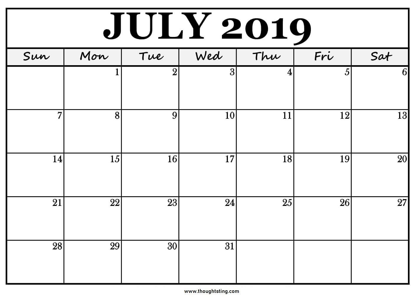 Free Printable July 2019 Calendar Download Calendar Printables