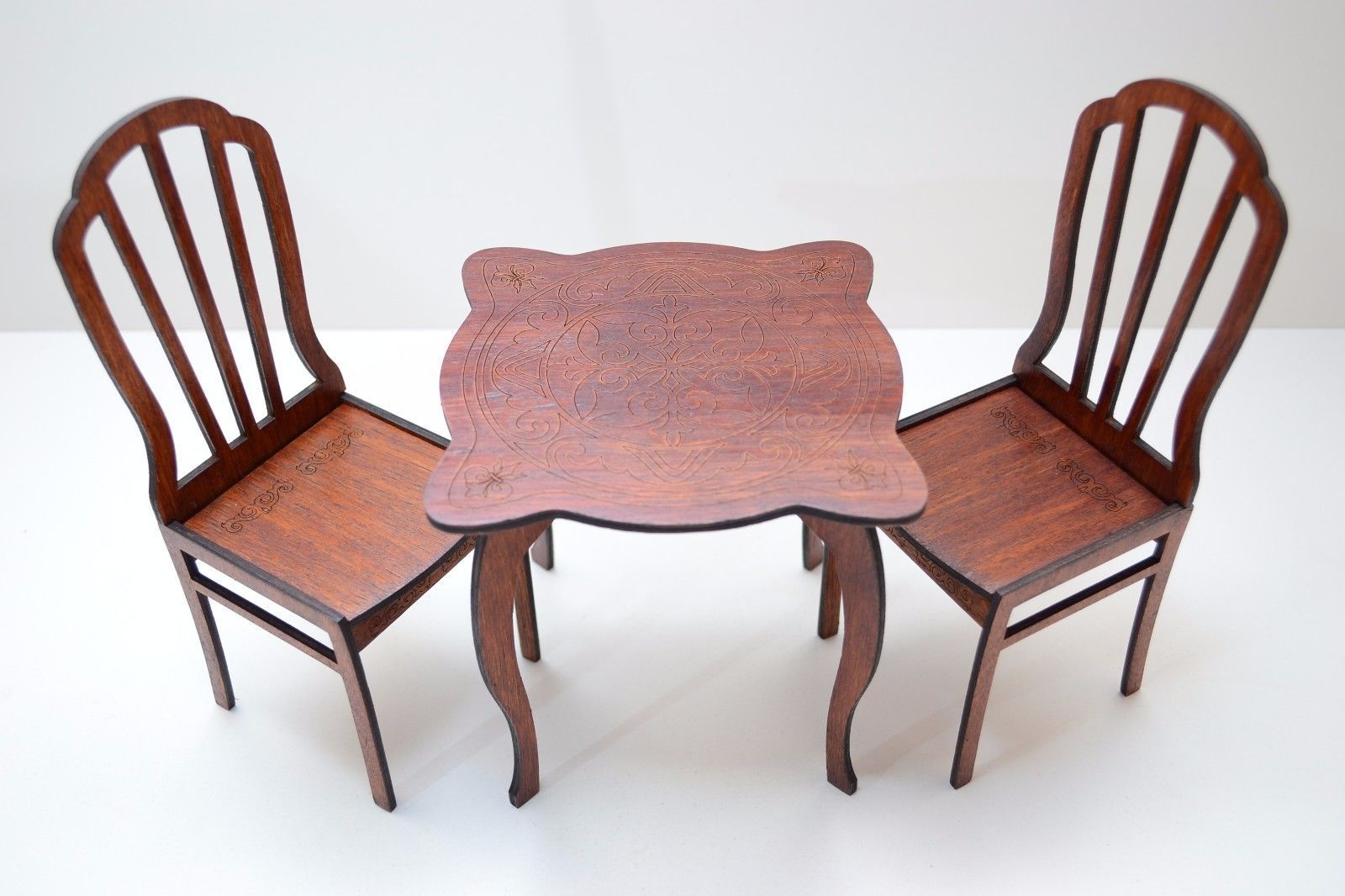 barbie wood furniture. Furniture For Doll Roombox 1:6 12 Inch Barbie FR IT Wooden 1 Table 2 Chairs Wood
