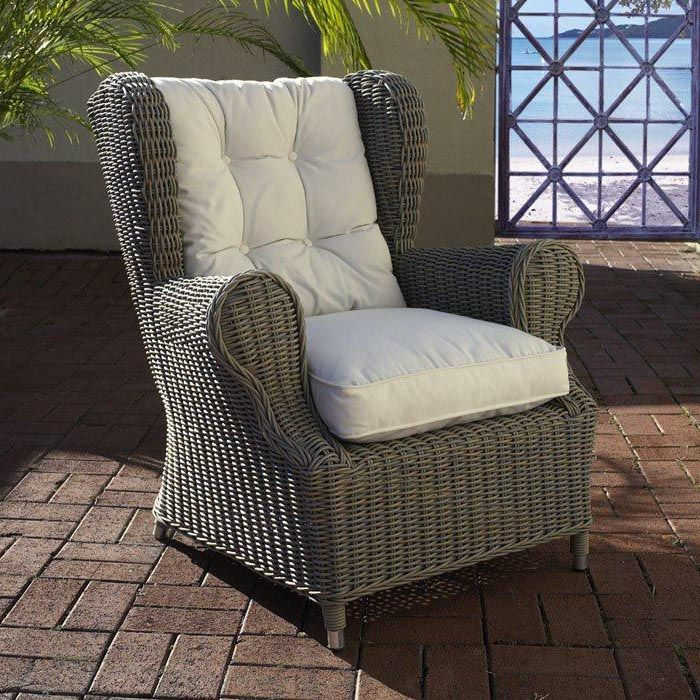 ♥ ♥ Outdoor Wingback Chair - White Fabric Cushion, Gray Wicker ...