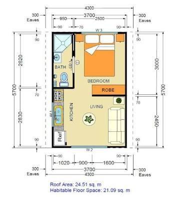 Smallest Granny Flat Google Search Studio Apartment Floor Plans Studio Floor Plans Apartment Layout