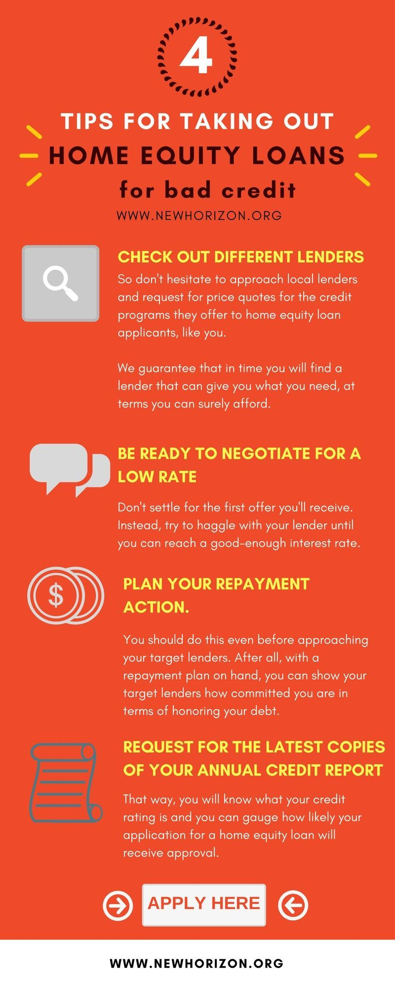 Tips For Taking Out A Guaranteed Home Equity Loan For Bad Credit Credithelp Credit Repair Advice For Everyone Pinterest Loans For Bad Credit Home Equit